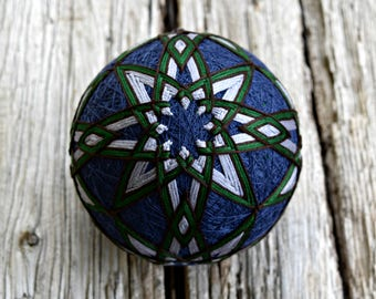 Grey and Navy Temari Ball, Tranquil Lake Temari Ball, Japanese Folk Art, Pine Forest Temari Ball Ornament, Christmas Temari Ball Ornament