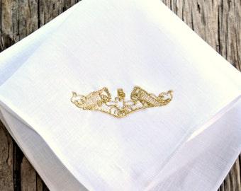 Submariner Dolphins Pin Hankerchief, Hand Embroidered Handkerchief with Navy Dolphins, Submarine Insignia Pin Pocket Square,