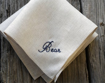 Embroidered Pocket Square Initials Hankie Personalized Embroidered Handkerchief Monogrammed Linen Pocket Square Beige Ecru linen  Gothic
