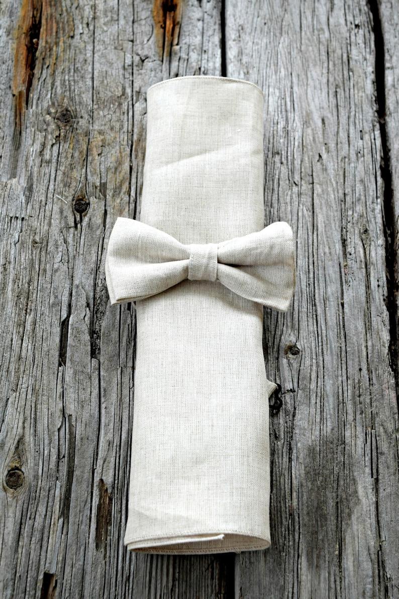 98455bc2a5881 Oatmeal Irish Linen Bow Tie and Pocket Square Set Mens Bow | Etsy