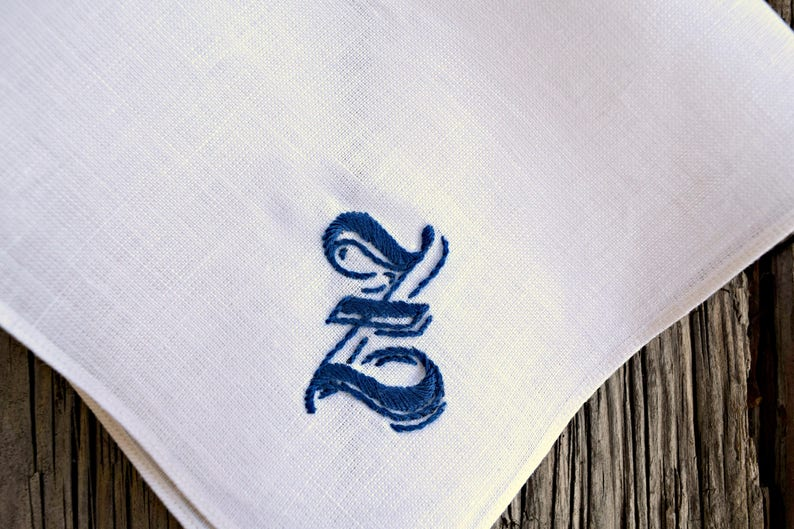 Pocket Square with Medieval Letter Personalized Mens Gift, Hand Embroidered Irish Linen Hankerchief Gothic Font Monogrammed Handkerchief