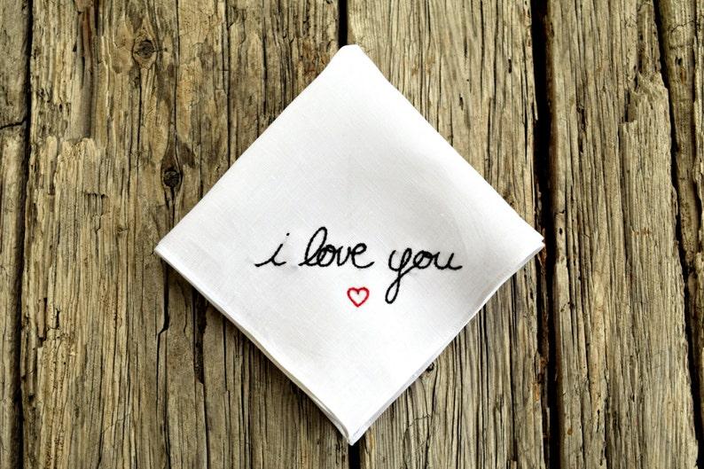 I Love You Handkerchief Heart Hankerchief Love Pocket Square image 0