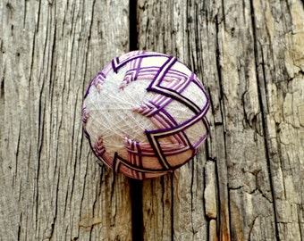 Purple Temari Ball, Violet Japanese Ball, Chevron Temari Ball, Japanese Folk Art, Ball Ornament, Purple Stripe Temari, Ornament Ball Stripey