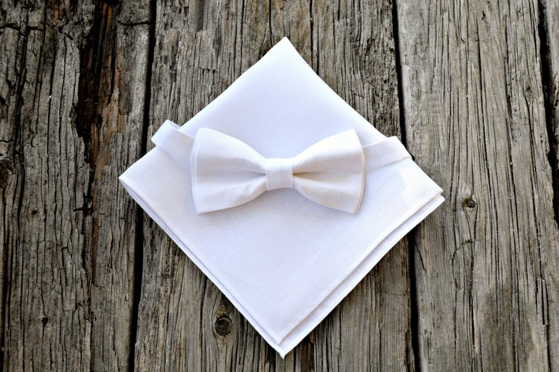 f30c59df3765 White Irish Linen Bow Tie and Pocket Square Set Mens Bow Tie | Etsy
