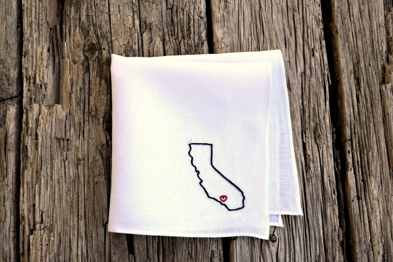 City Heart I Love My Hometown Hanky State Silhouette Hankerchief Heart at Home Pocket Square Home State Handkerchief Birthplace Hankie