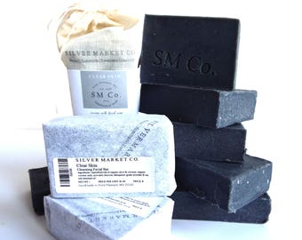 CLEAR SKIN SOAP | All Natural | Coconut Milk Soap| Activated Charcoal | Tea Tree | Lavender | Palm Free