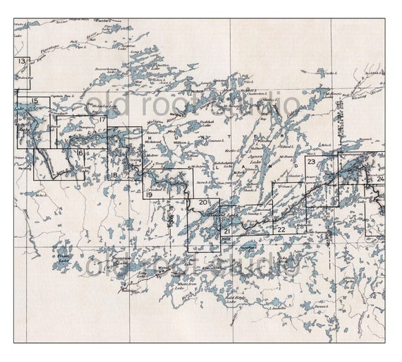 Hand Painted Map Of The Boundary Waters Canoe Area West Etsy