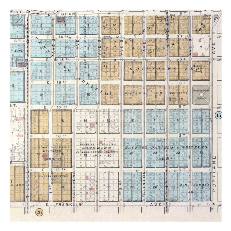 Hand Painted Map of Minneapolis, 1892 / Loring Park / Nicollet / Groveland  / Old Map Minneapolis / Vintage Minneapolis Minneapolis Map Art