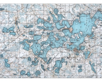 Hand Painted Map of Lake Minnetonka, 1905 / Vintage Minnetonka Map / Antique Minnetonka Map / Minnetonka Map Art / Old Map Minnetonka