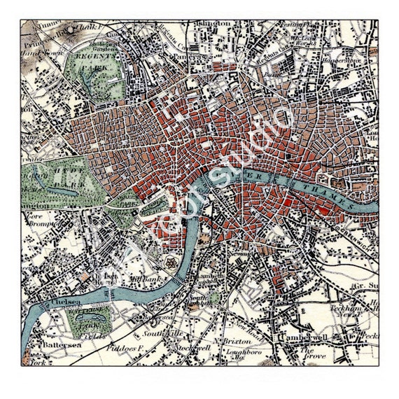 Hand Painted Map of London 1855 / Retro London / Vintage   Etsy on