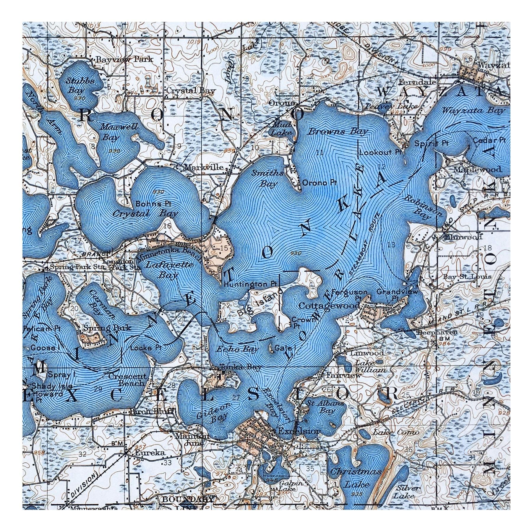 Hand Painted Map Of Lake Minnetonka 1905 Dark Blue