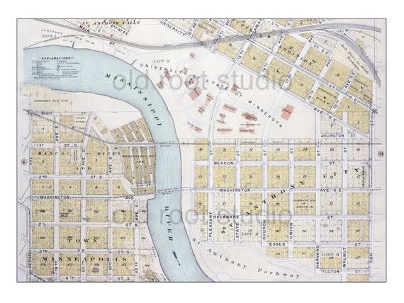 University Of Minnesota Map East Bank.Hand Painted Map Of Minneapolis 1903 University Of Minnesota Etsy