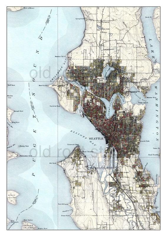 Hand Painted Map of Seattle, Washington, 1908 / Vintage Seattle / Seattle  Map Art / Lake Washington / Elliot Bay / Shilshole Bay