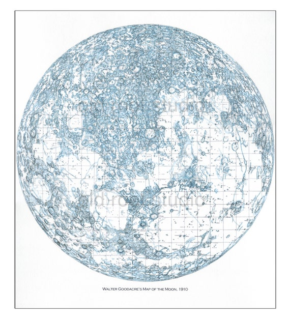 Map of the Moon 1910 / Moon Map / Lunar Map / Map of Space / Moon Art /  Harvest Moon / Moon Exploration / Blue Moon / Lunar Eclipse