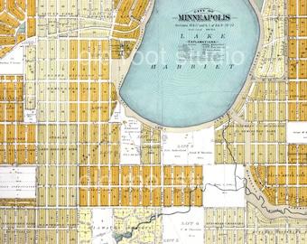 Hand Painted Map of Minneapolis, Lake Harriet, 1892 / Lynnhurst / Fulton / Linden Hills / Vintage Minneapolis Map / Minneapolis Lakes