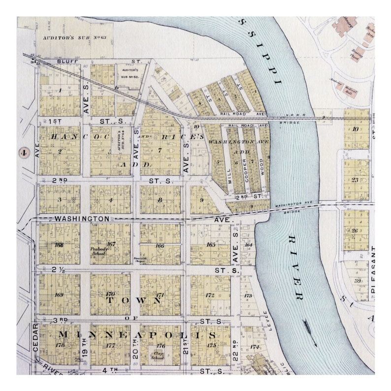 U Of Minnesota Map.Hand Painted Map Of Minneapolis 1903 University Of Minnesota Etsy