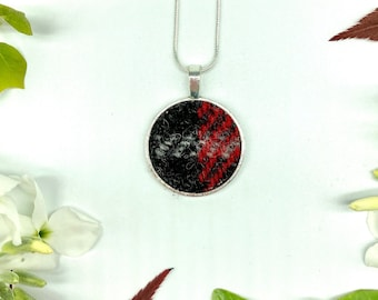Harris Tweed® Maciver Pendant on silver plated chain | Boxed Necklace with Red Black Scottish Tweed on a Circular Pendant | Bridesmaid Gift
