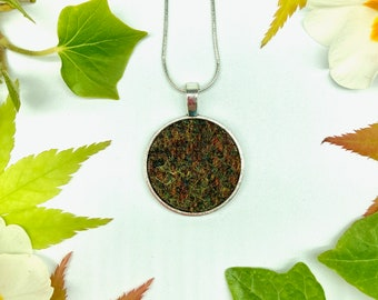 Harris Tweed® Flecked Olive Pendant on silver plated chain | Boxed Necklace with Scottish Tweed on Circular Pendant | Bridesmaid Gift