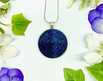 Harris Tweed® Navy Blue Pendant on 925 silver plated chain   Boxed Necklace with Scottish Tweed on a Circular Pendant   Bridesmaid Gift