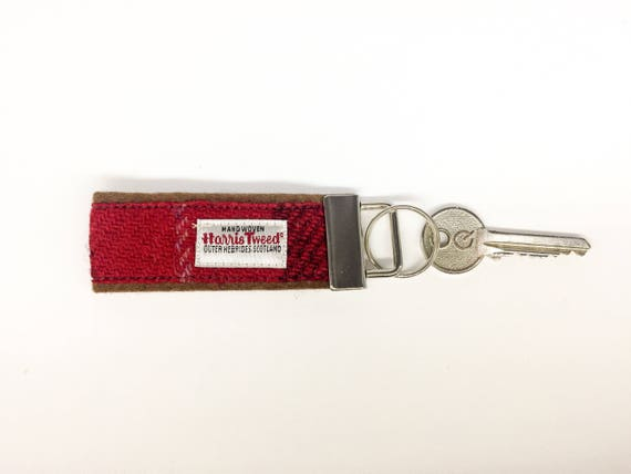 Tweed Housewarming keyring Tweed New Home keychain Scottish Harris Tweed\u00ae key fob in grey check