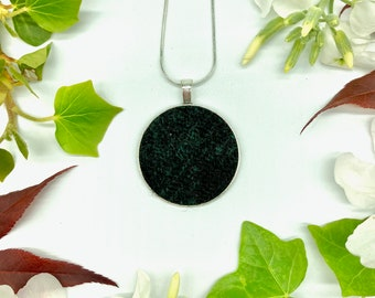 Harris Tweed® Blackwatch Pendant on silver plated chain | Boxed Necklace with Scottish Tweed on a Circular Pendant | Bridesmaid Gift