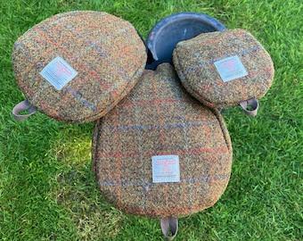 A Single Flecked Olive Harris Tweed® Golf Head Cover | Scottish Tweed Golf Driver Cover | Tweed Golf Fairway Wood Club | Plaid Golfers Gift