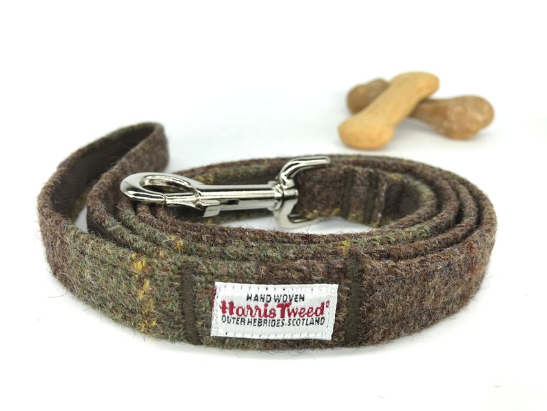 Scottish Harris tweed dog lead Dog lovers gift Tartan dog leash Scottish Harris Tweed\u00ae dog leash in brown and green check