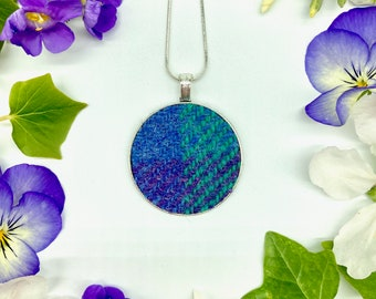 Harris Tweed® Purple Blue Green Pendant on silver plated chain | Boxed Necklace with Scottish Tweed on a Circular Pendant | Bridesmaid Gift