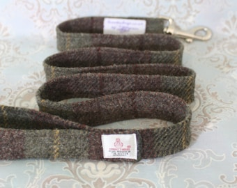 Scottish Harris tweed dog leash in brown and green check | Scottish Harris tweed dog lead | Tartan dog leash | Dog lovers gift