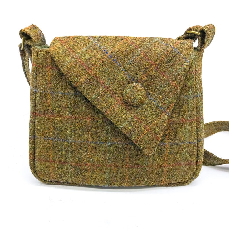 4bf625d7ee Scottish Harris Tweed Asymmetric Handbag in Terracotta and