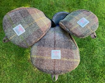 A Single Brown & Green Harris Tweed® Golf Head Cover | Scottish Tweed Golf Driver Cover | Tweed Golf Fairway Wood Club | Plaid Golfers Gift