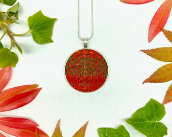 Harris Tweed® in Orange & Green Pendant on silver plated chain | Boxed Necklace with Scottish Tweed on a Circular Pendant | Bridesmaid Gift