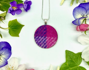 Harris Tweed® Pink & Purple Check Pendant on silver plated chain | Boxed Necklace with Scottish Tweed on Circular Pendant | Bridesmaid Gift