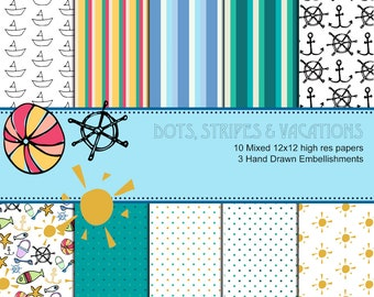 Summer Beach Pattern and Digital Paper with Clipart & Elements [beach ball, sun, and anchor] - whimsical, commercial licence, colourful art