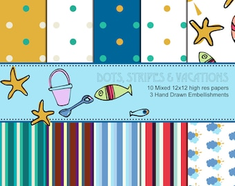 Coastal Nautical Clipart and Digital Patterns - pattern, vectors, jpg, png, commerical and personal licence, blue, yellow, red, summer break