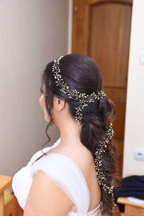 Extra long pearl bridal headpieceLong Bridal Hair  327acc2d21d8