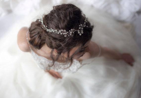 chaussures de course beau lustre info pour Cerchietto, sposa, sposa capelli Vine, Halo nuziale, nuziale capelli Vine,  floreale matrimonio copricapo, perle Tiara nuziale nuziale corona