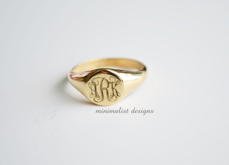 Sterling silver Gold signet ringSignet RinggoldMonogram image 0