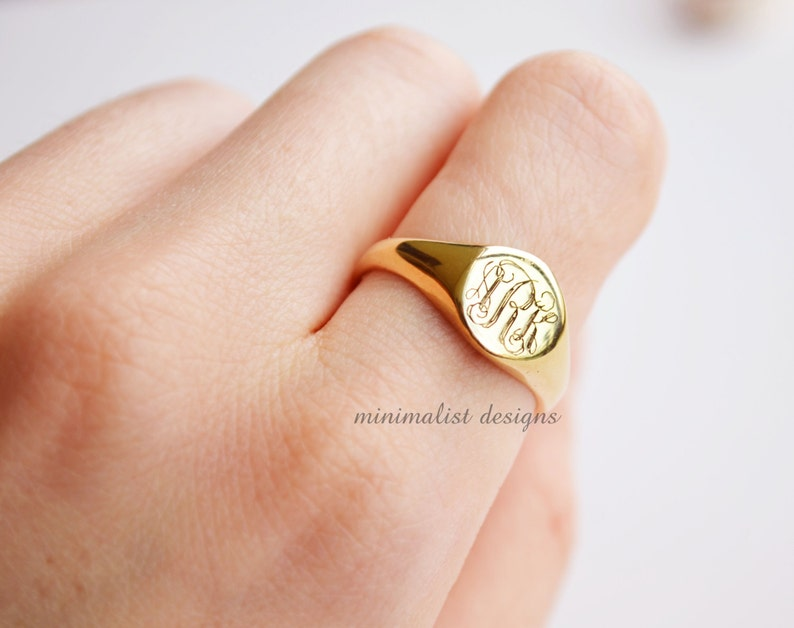 Sterling Silver Gold Signet Ring womens signet ring signet image 0