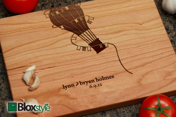 Engraved Cutting Board - Hot Air Balloon Design