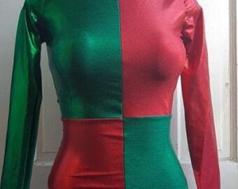 Christmas Harlequin Bodysuit - No Diamonds - Size small