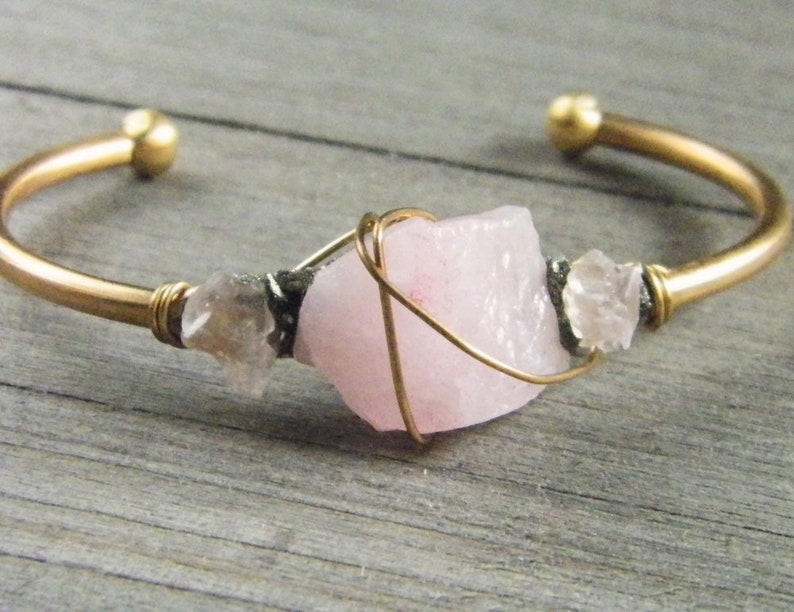 d1d31bcd996c34 Raw Stone Jewelry Bohemian Bracelet Gemstone Cuff Bracelet   Etsy