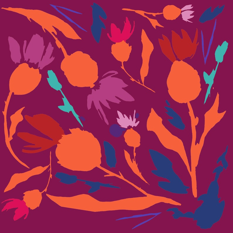 Thistle Print Burgundy Orange Red Blue Home Decor Abstract