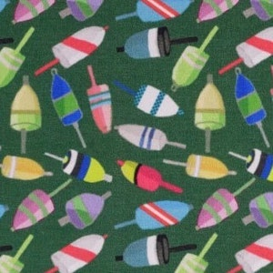 Tossed Lobster Trap Buoys on Green English-Style Bow Ties Self-Tie or Pre-Tied with or without a Matching Pocket Square