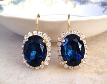 Navy blue halo earrings, gold, oval, bridal party, Blue, something old, midnight blue, rhinestone, halo, wedding, Swarovski, bridal earring