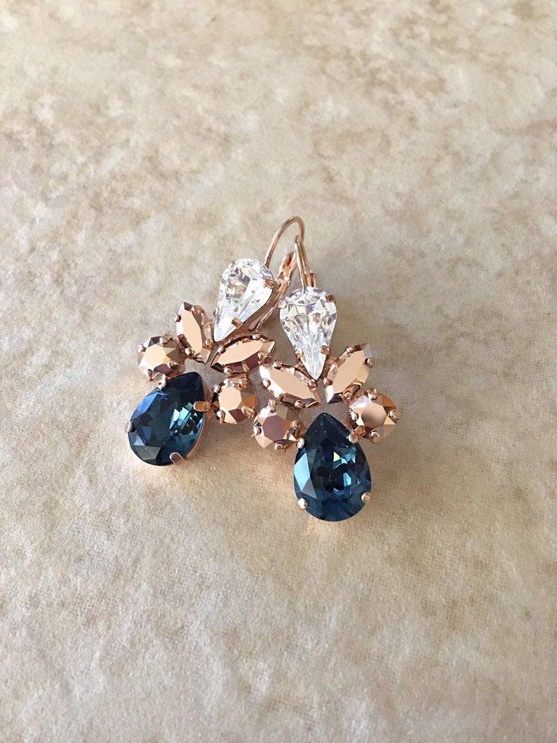 751302b30 Swarovski crystal earrings long earrings navy blue dark   Etsy
