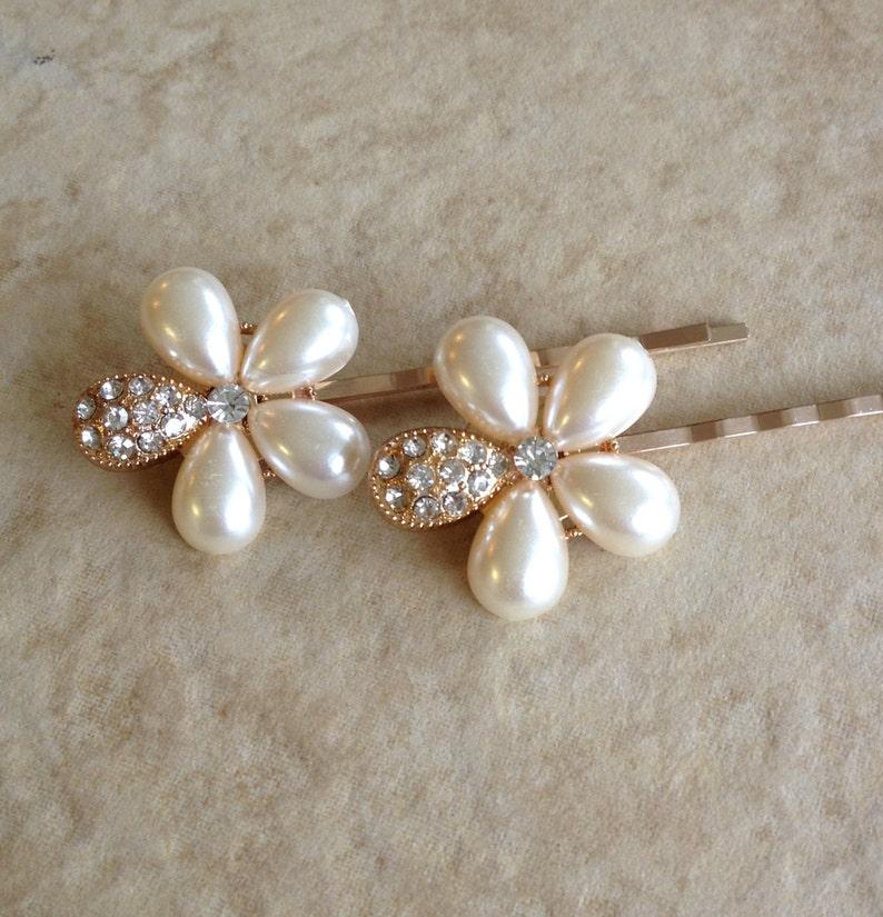 hair slide pearl gift floral bobby pins flower pair wedding bridal bridesmaid Rose gold pearl hair pins gift hair jewelry
