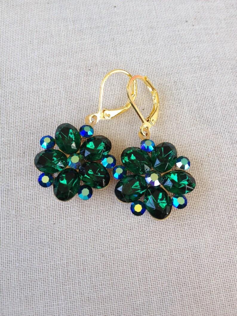 6194fcd12f85e Swarovski, vintage emerald crystal earrings, green, emerald, gold,  bridesmaid gift, vintage wedding, rhinestone, emerald green wedding