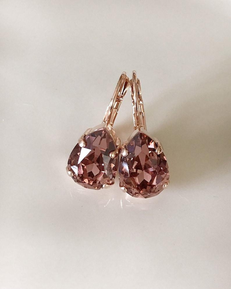 6c5aa244f7cfe Light Burgundy Swarovski crystal teardrop earrings, rhinestone drop  earrings, vintage wedding, bridal, french rose