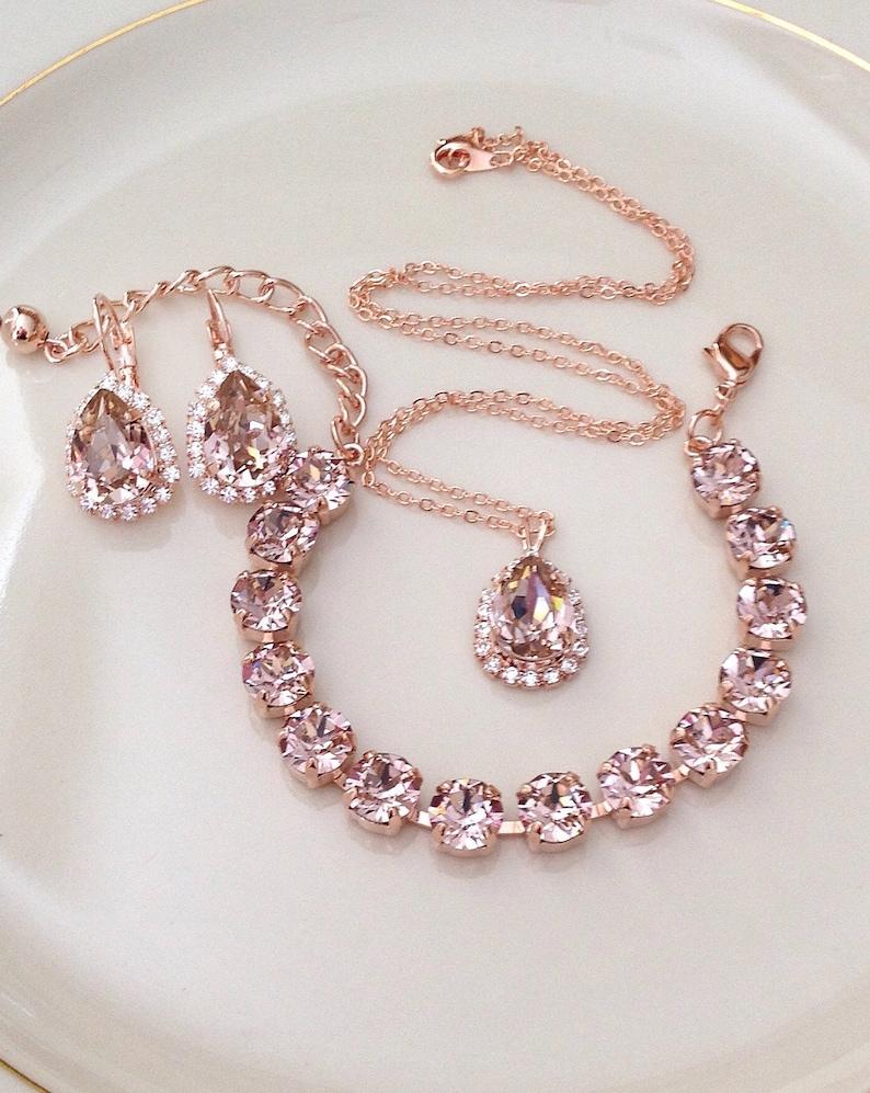 92cbcbfa1 BRACELET Swarovski morganite rose gold crystal tennis | Etsy